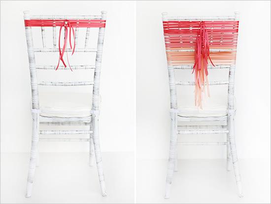 Оформление спинки стула атласными лентами