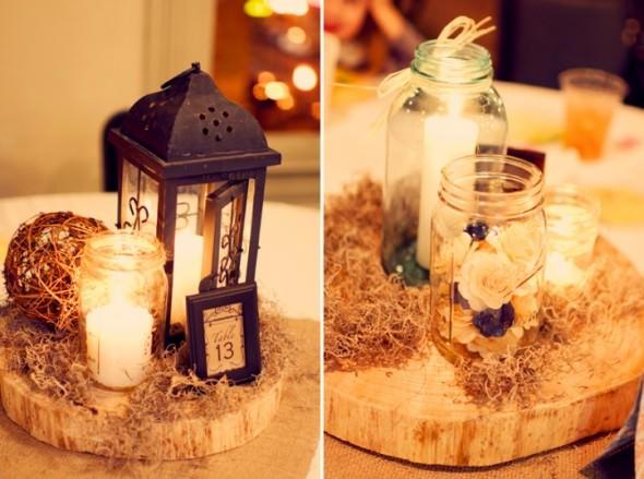 Дерево и стеклянные банки в декоре свадьбы