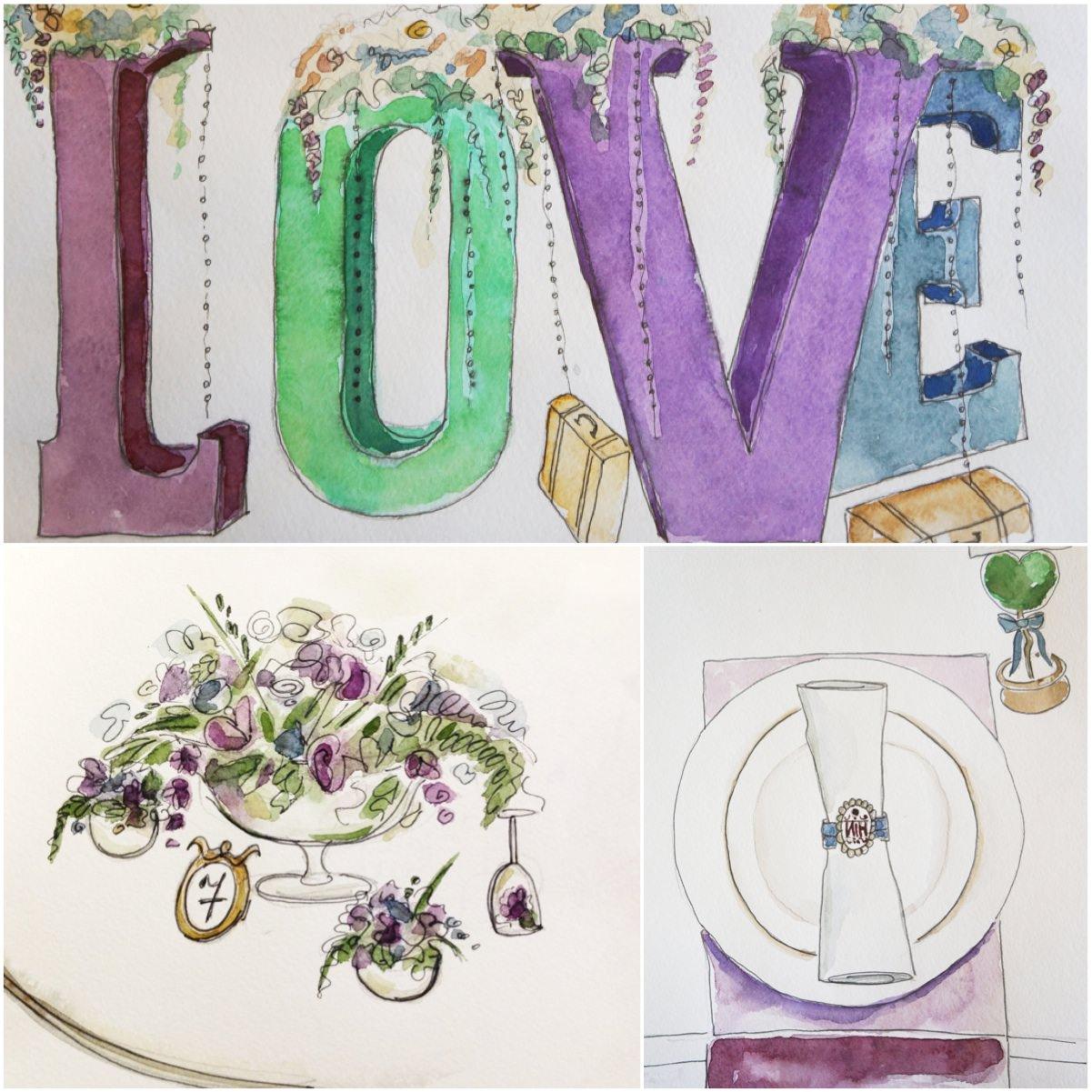 Эскизы для дизайн-проекта свадебного оформления