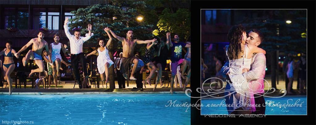 Необычное завершение свадьбы, прыжок в бассейн