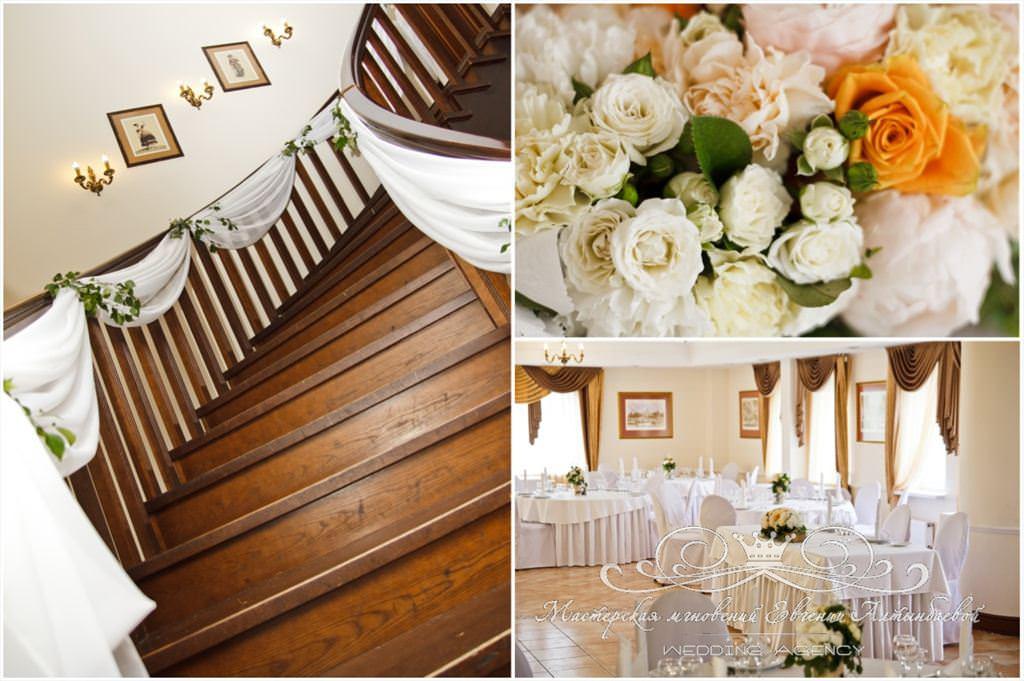 Оформление лестницы тканью и цветами в Гранд Отеле Петергоф
