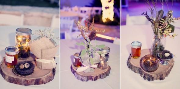 Оригинальные композиции из цветов на подставках из среза дерева