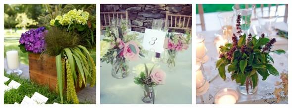 Варианты цветочных композиция на свадьбе в деревенском стиле