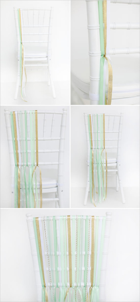 Декор банкетного стула для свадьбы тонкими лентами по вертикали