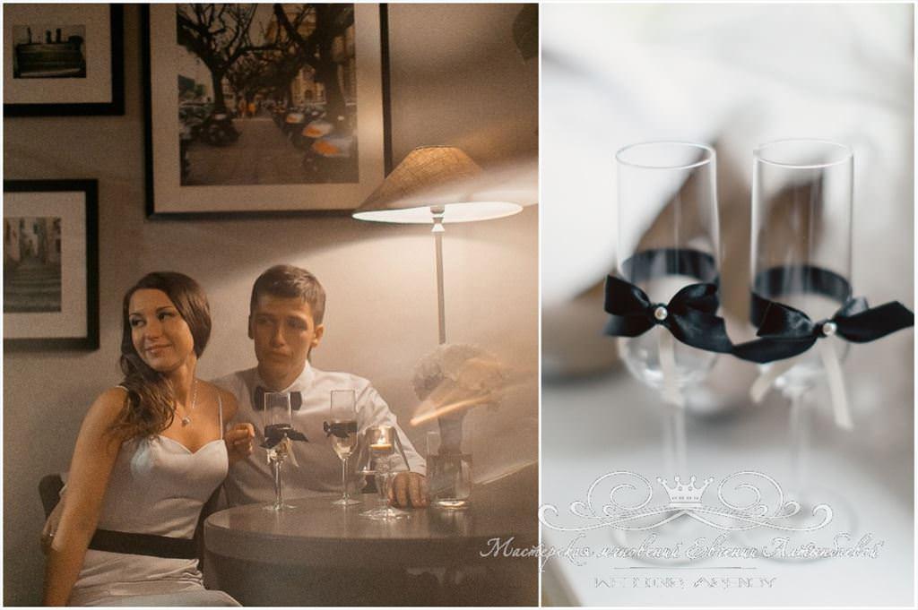 Простые элегантные свадебные бокалы