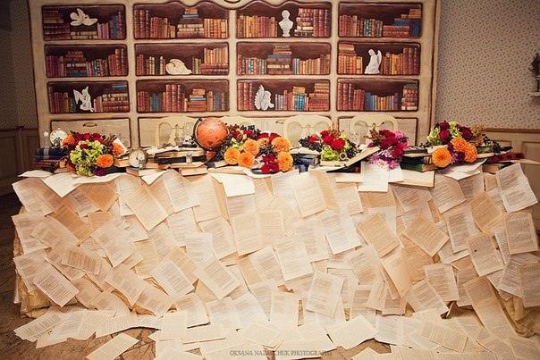 Оформление президиума с помощью книжных листов на книжной свадьбе