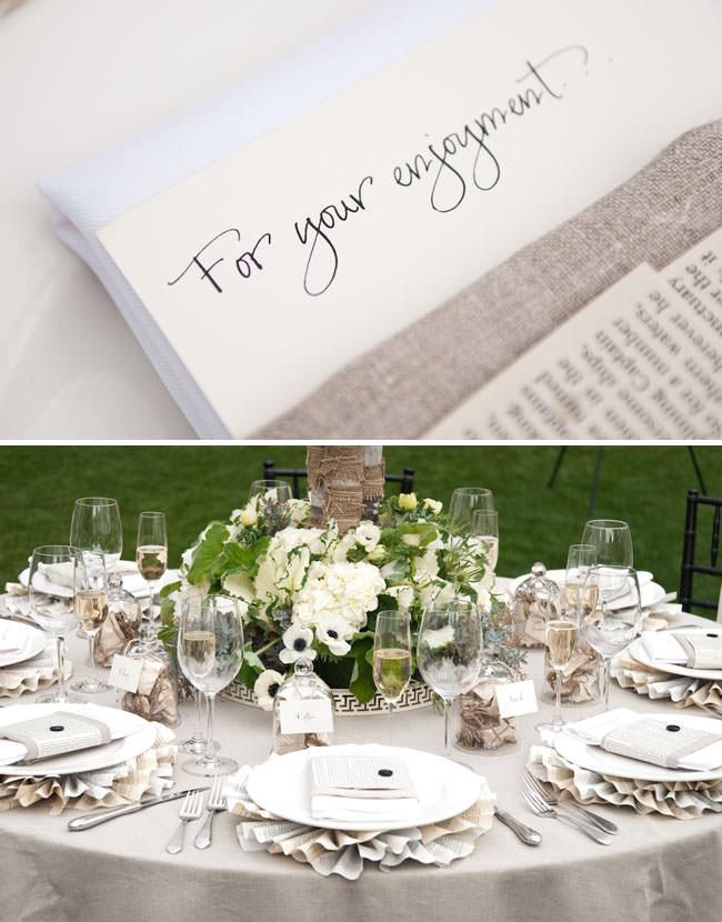 Оригинальная сервировка свадебного стола с использованием книжных листов