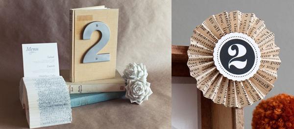Номерки столов на книжной свадьбе