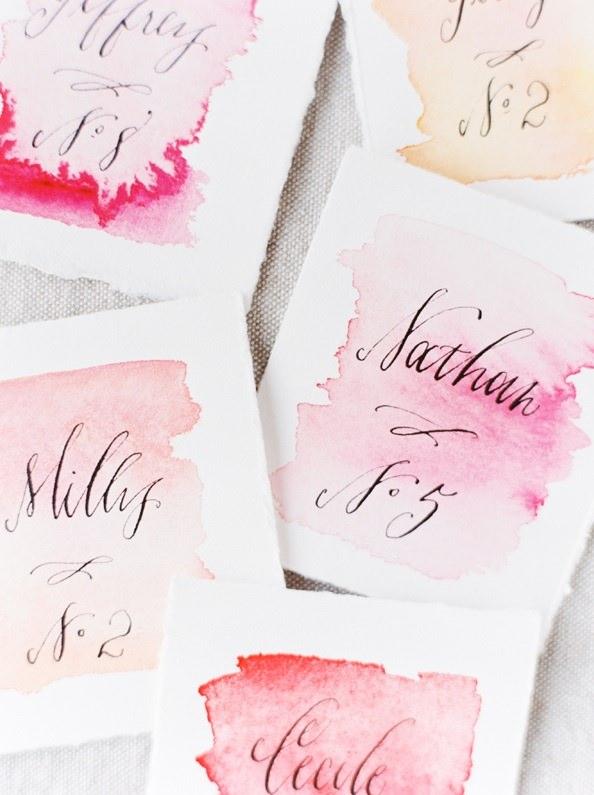 Карточки с номерами столов на свадьбу в стиле акварель