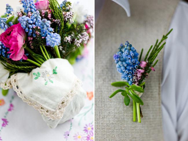 Букет невесты и бутоньерка жениха в ирландском стиле