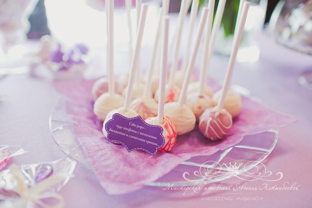Кейк-попсы для сладкого стола на свадьбе
