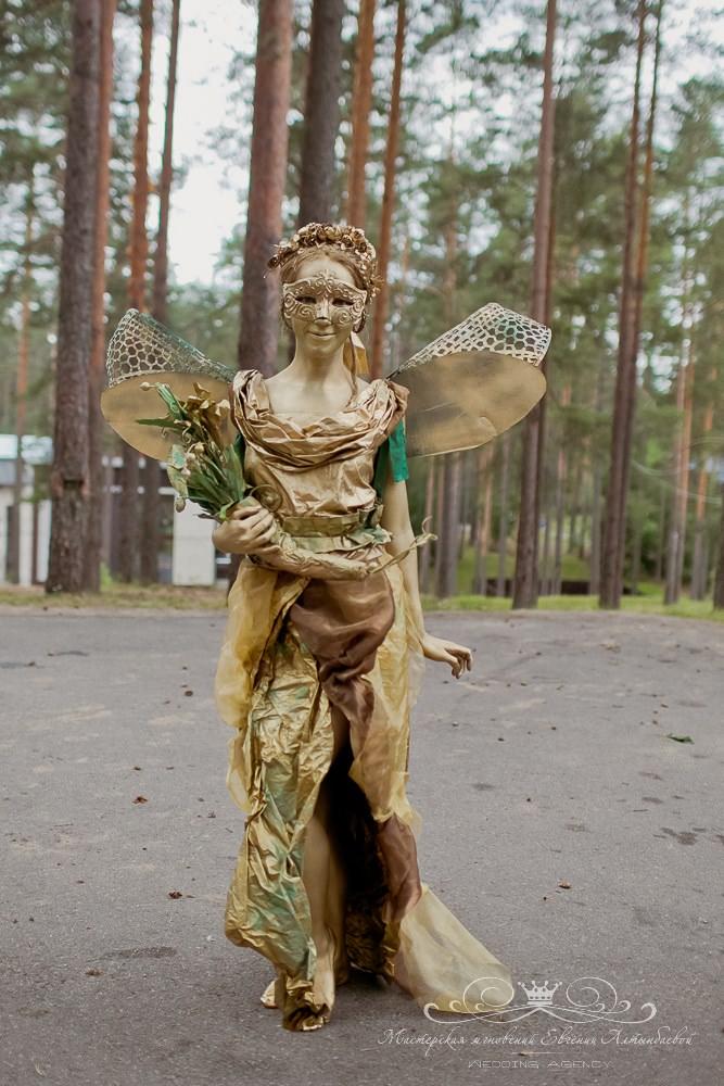 Живая статуя на свадьбу в образе лесной феи