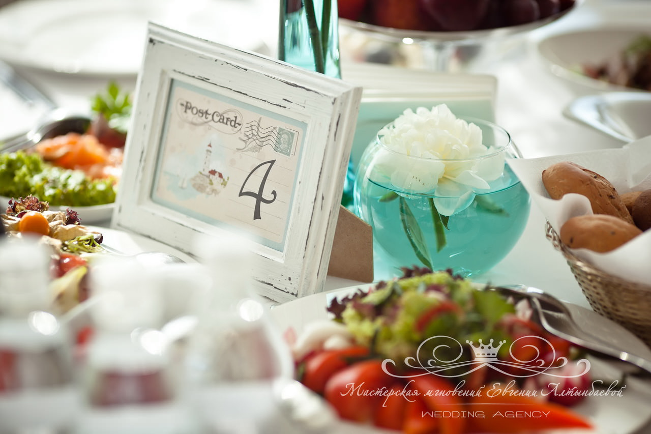 Номера столов на свадьбе в морском стиле