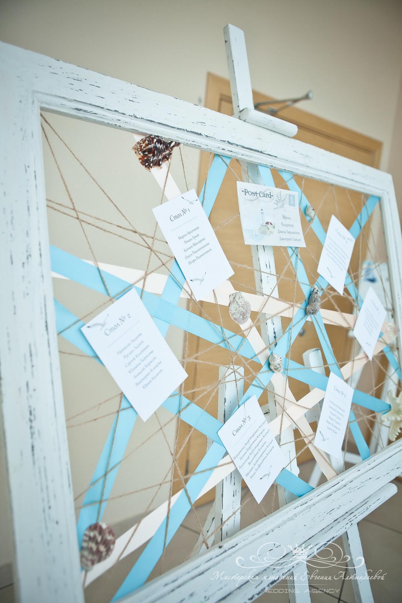 Свадебный план рассадки в морском стиле