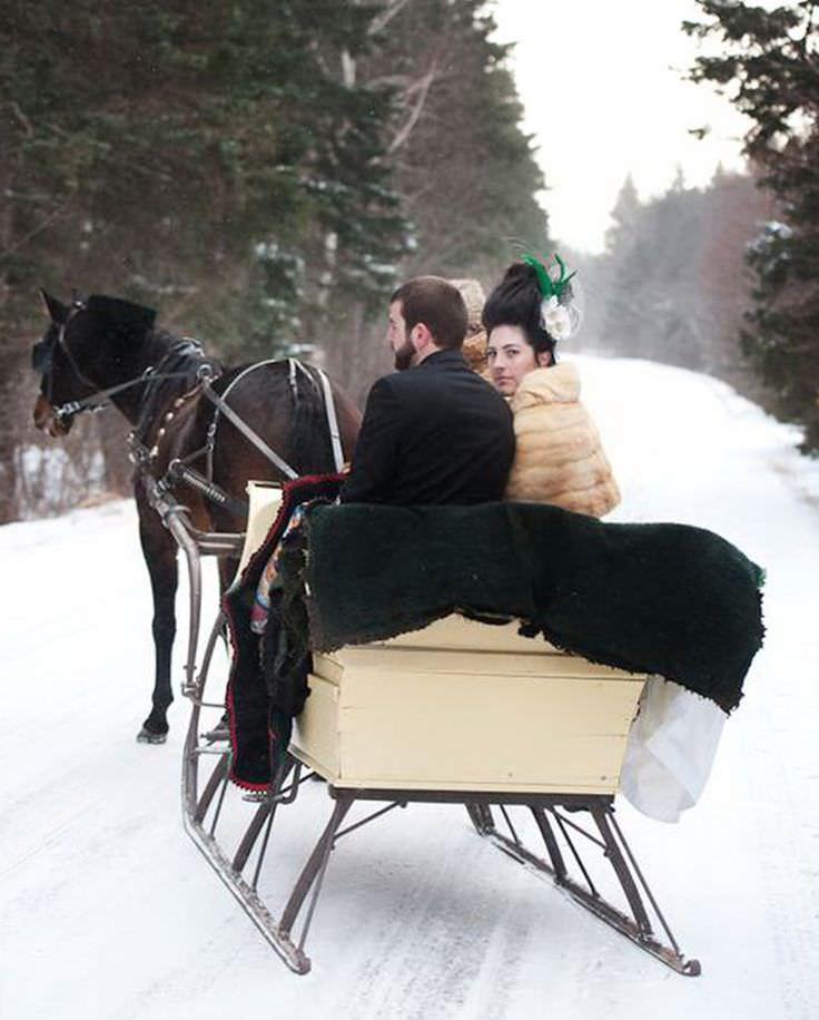 Сани в аренду для зимней свадьбы