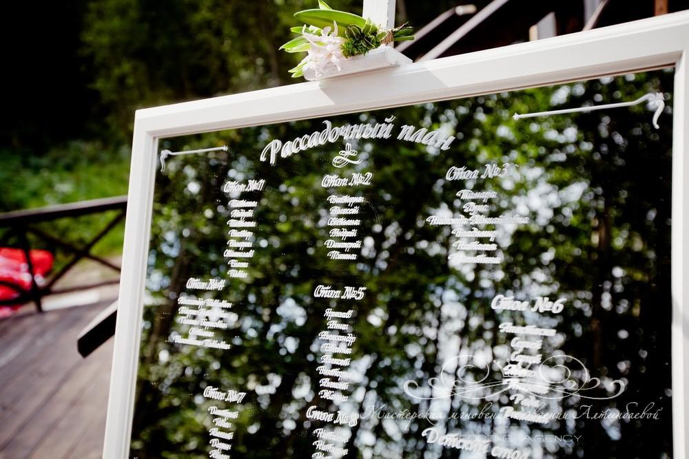 Свадебный план рассадки гостей на зеркале