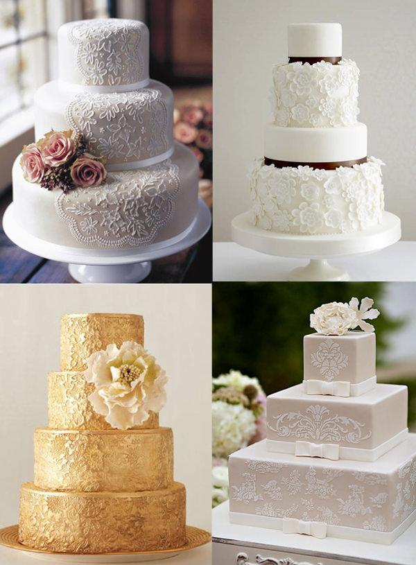 Кружевные свадебные торты