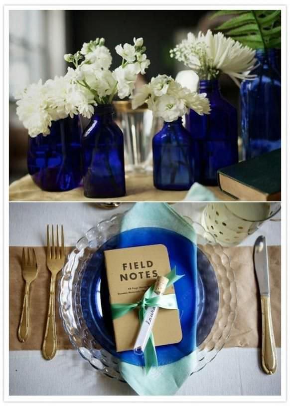 Элементы оформления свадьбы в синем цвете
