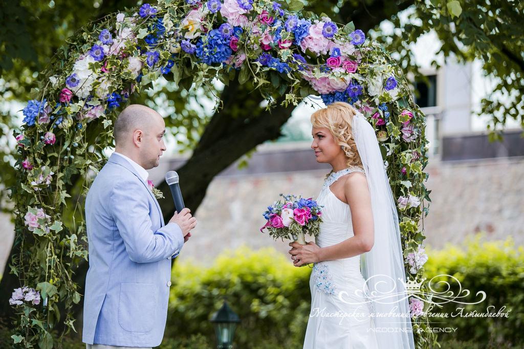 декор свадьбы в розовых и голубых тонах