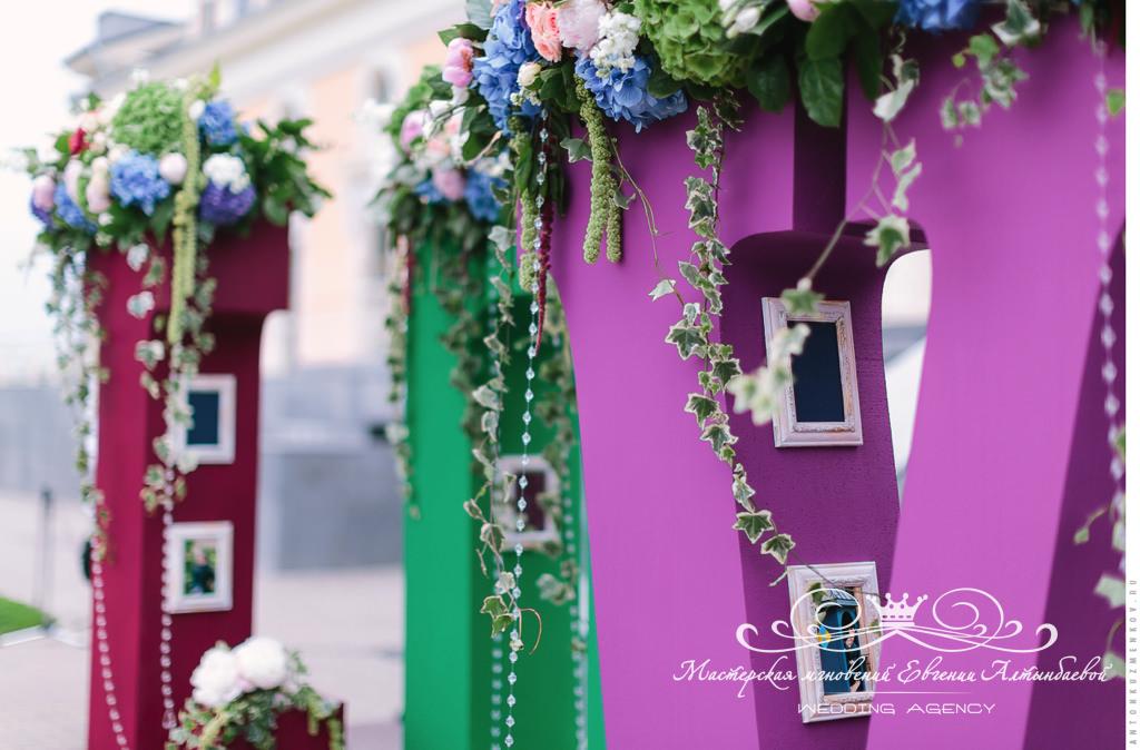 Оформление букв для фотосессий на свадьбе
