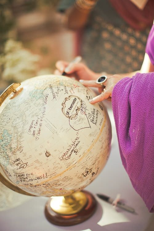 Пожеланий от гостей на глобусе
