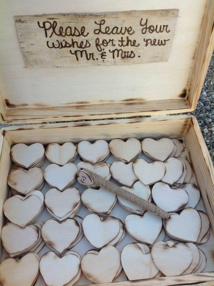 Пожелания от гостей на деревянных сердечках