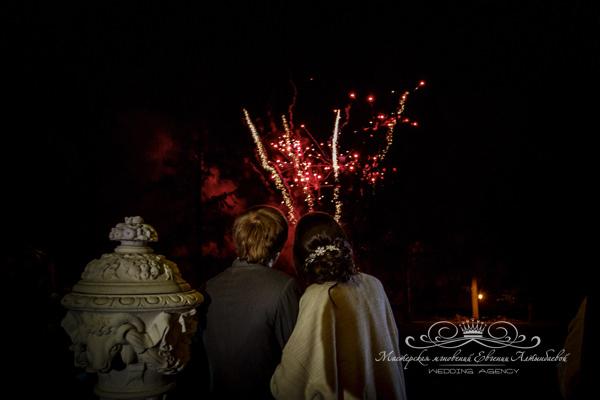 Организация салюта на свадьбе в усадьбе Марьино