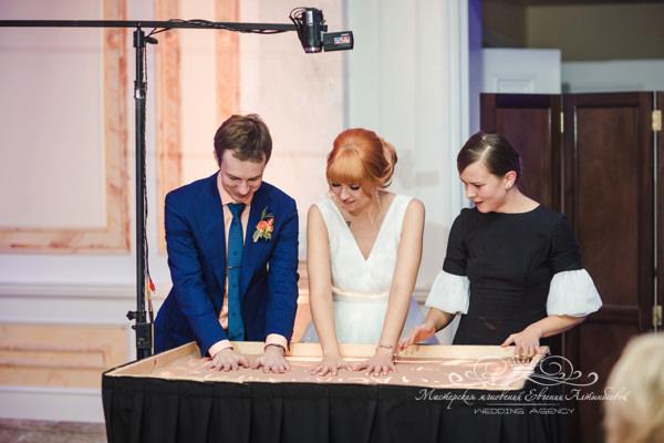 Красивое песочное шоу на свадьбе в отеле четыре сезона спб