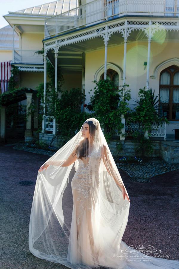 Роскошная свадебная фата 50 оттенков белого