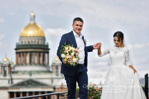 Свадебное фото с видом на Исаакиевский собор